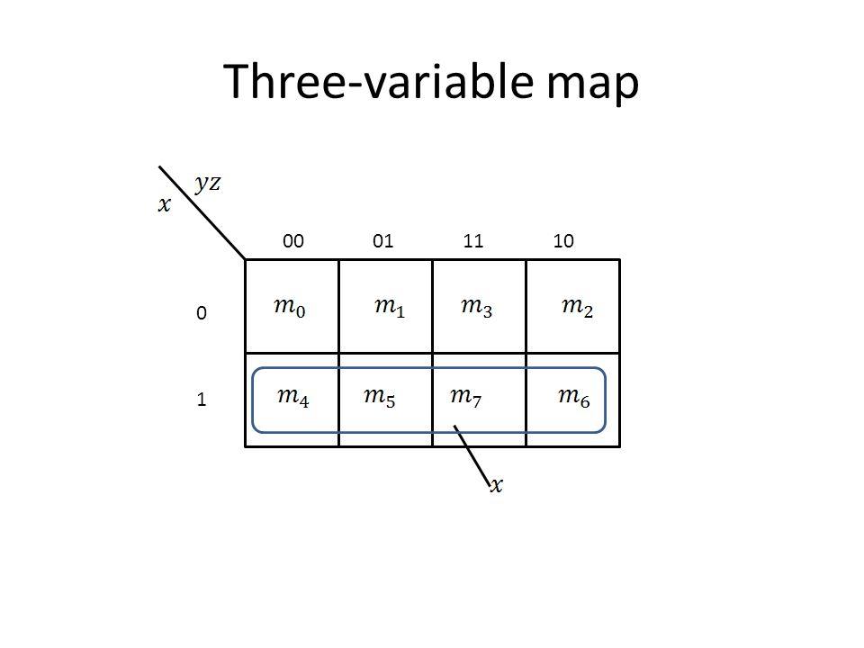 Three-variable map 00011110 0 1