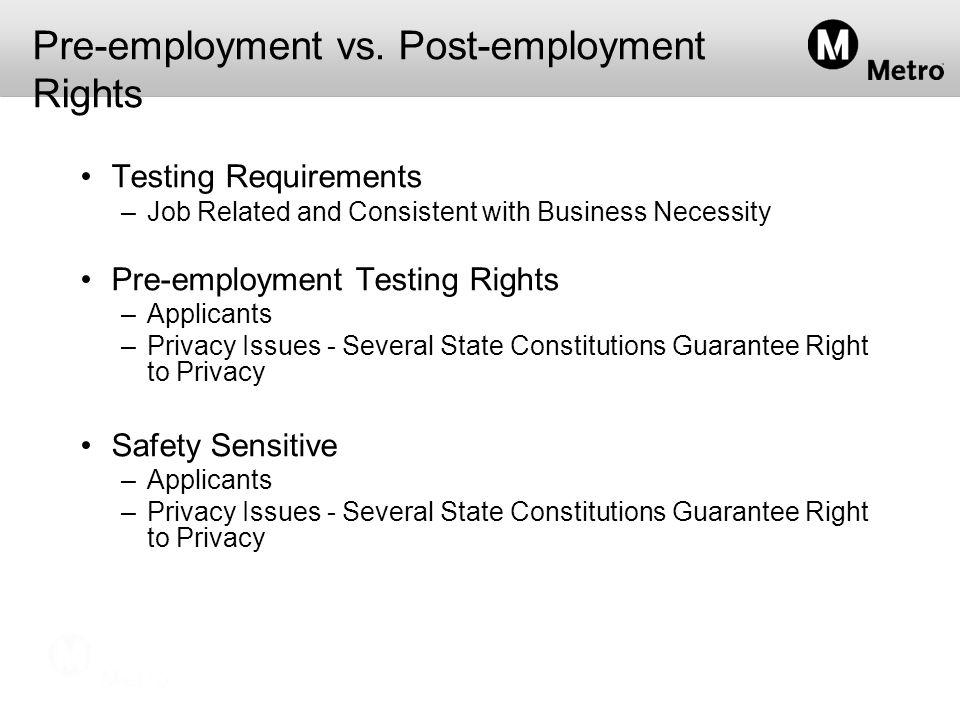 Pre-employment vs.