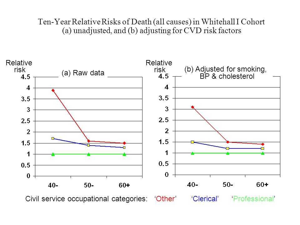 Ten-Year Relative Risks of Death (all causes) in Whitehall I Cohort (a) unadjusted, and (b) adjusting for CVD risk factors Civil service occupational categories: 'Other' 'Clerical' 'Professional' Relative risk (a) Raw data (b) Adjusted for smoking, BP & cholesterol