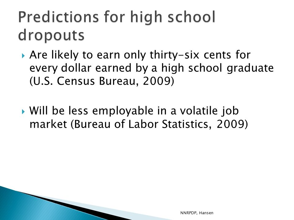  Are likely to earn only thirty-six cents for every dollar earned by a high school graduate (U.S.