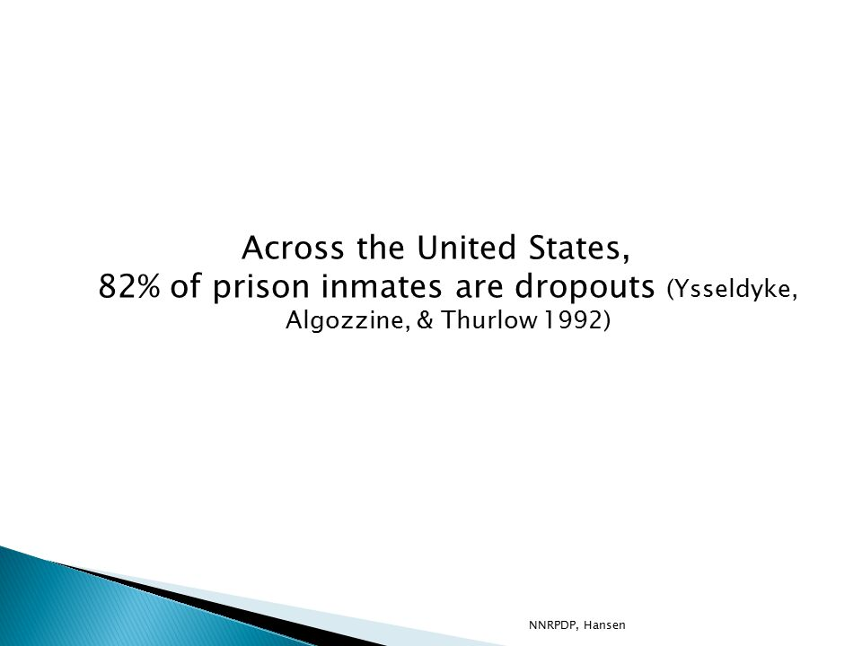 Across the United States, 82% of prison inmates are dropouts (Ysseldyke, Algozzine, & Thurlow 1992) NNRPDP, Hansen