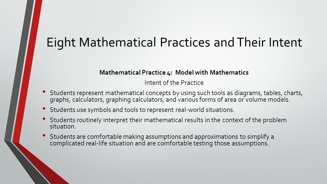 Eight Mathematical Practices and Their Intent Mathematical Practice 4: Model with Mathematics Intent of the Practice Students represent mathematical c