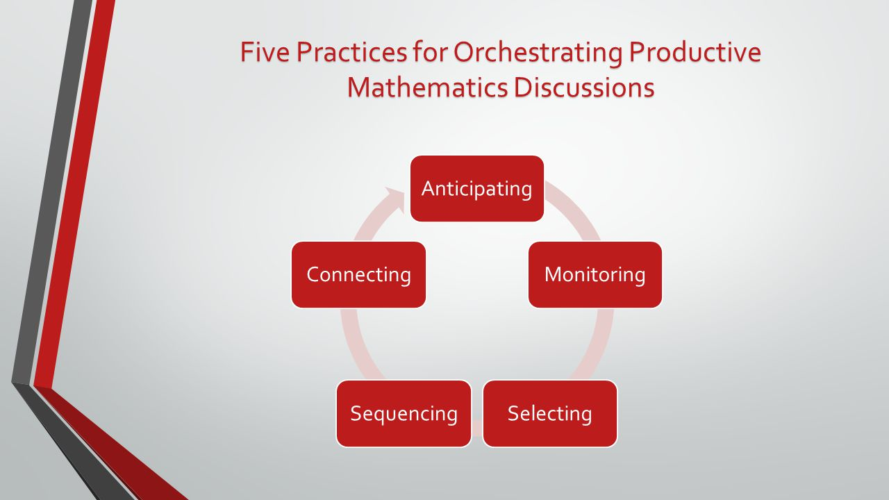 AnticipatingMonitoringSelectingSequencingConnecting Five Practices for Orchestrating Productive Mathematics Discussions