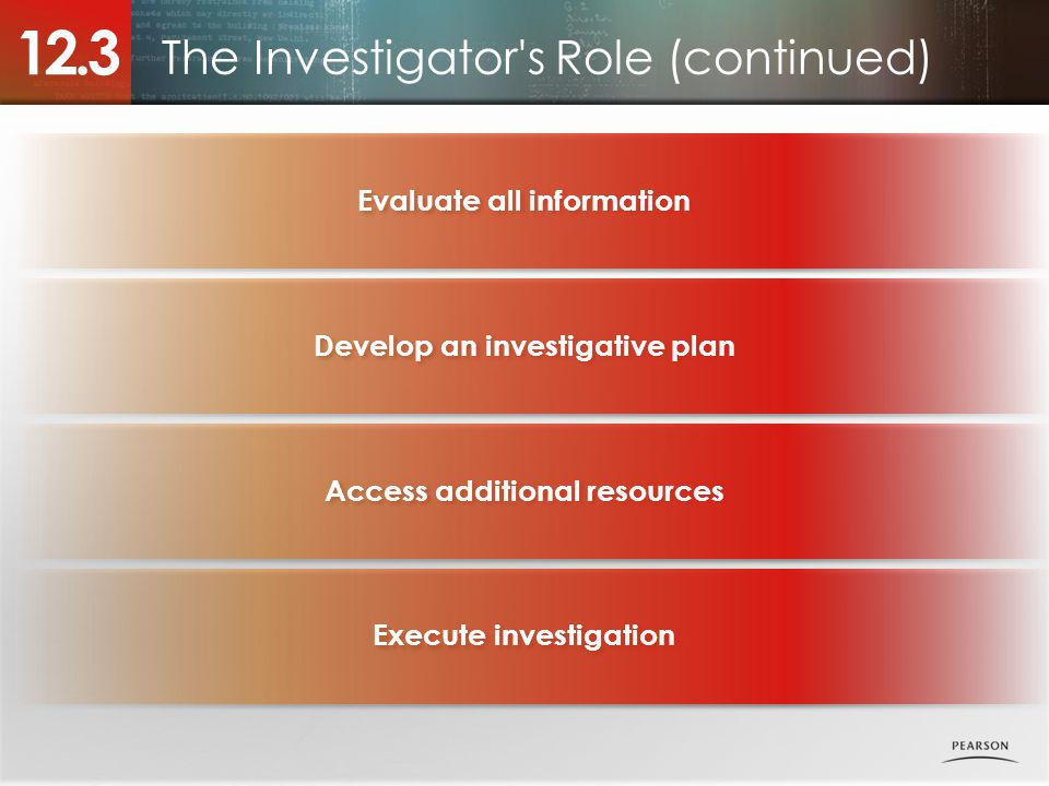 The Investigator s Role (continued) 12.3 Evaluate all information Develop an investigative plan Access additional resources Execute investigation