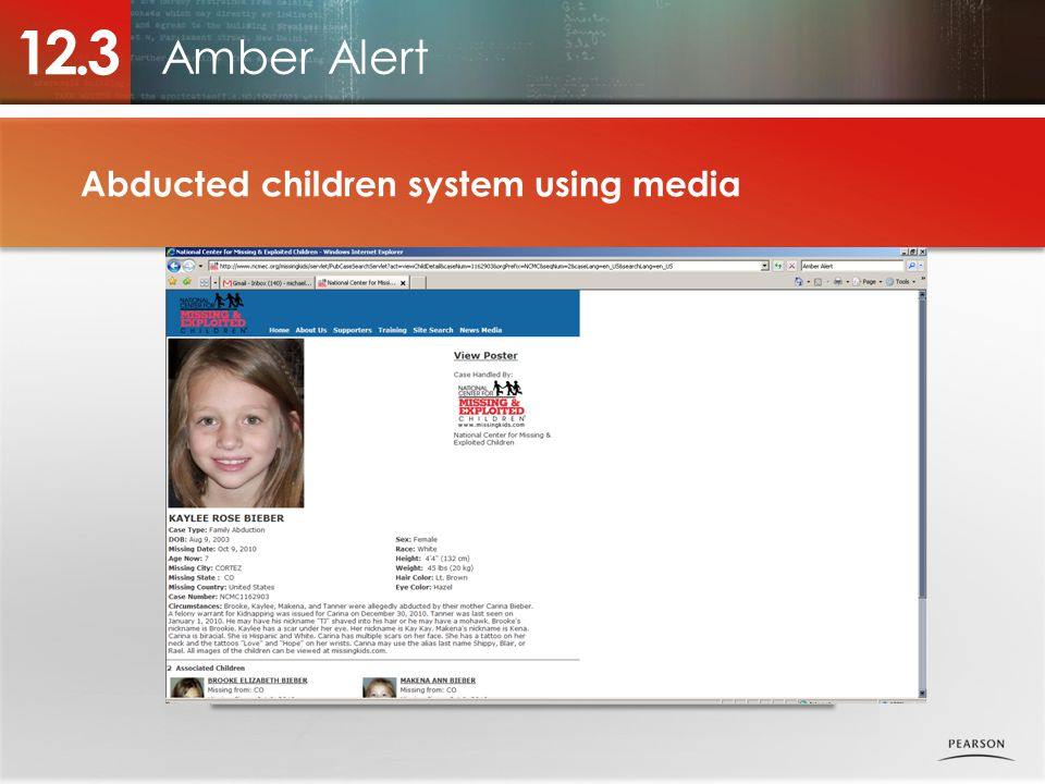 Amber Alert 12.3 Abducted children system using media Photo placeholder