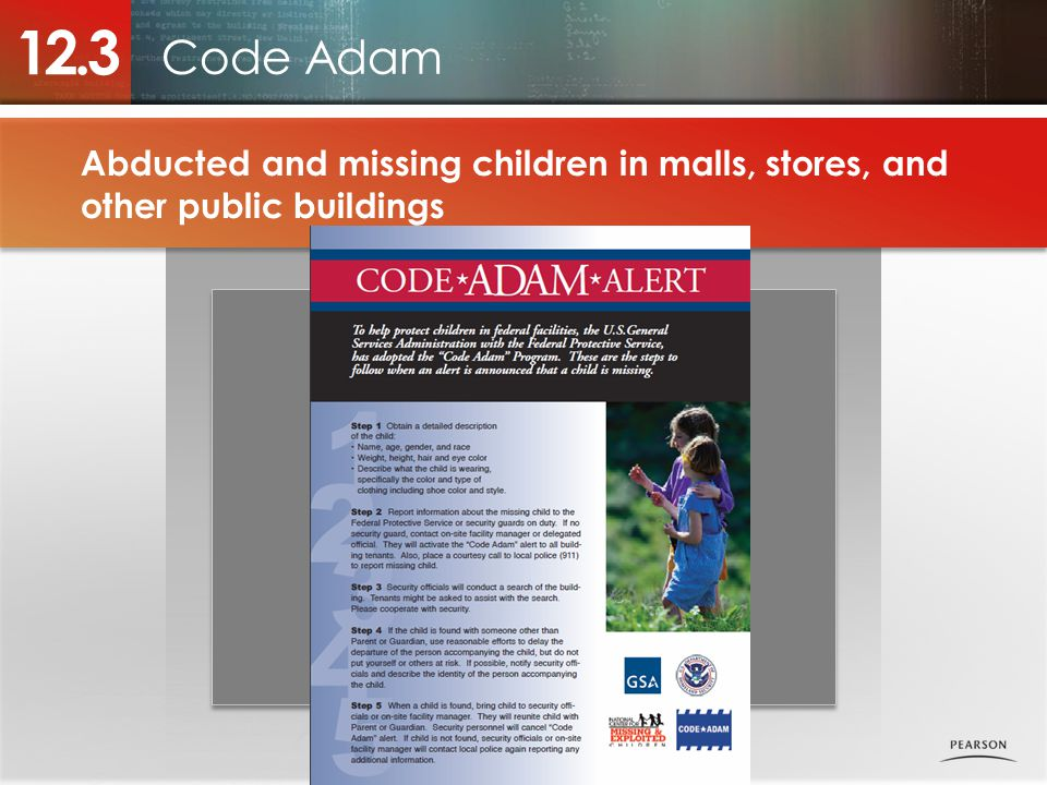 Code Adam 12.3 Abducted and missing children in malls, stores, and other public buildings Photo placeholder