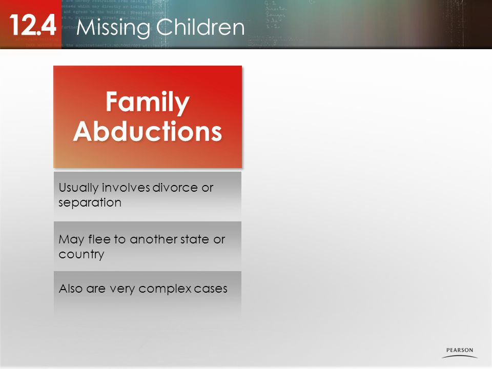 Missing Children 12.4 Family Abductions Family Abductions Usually involves divorce or separation May flee to another state or country Also are very complex cases