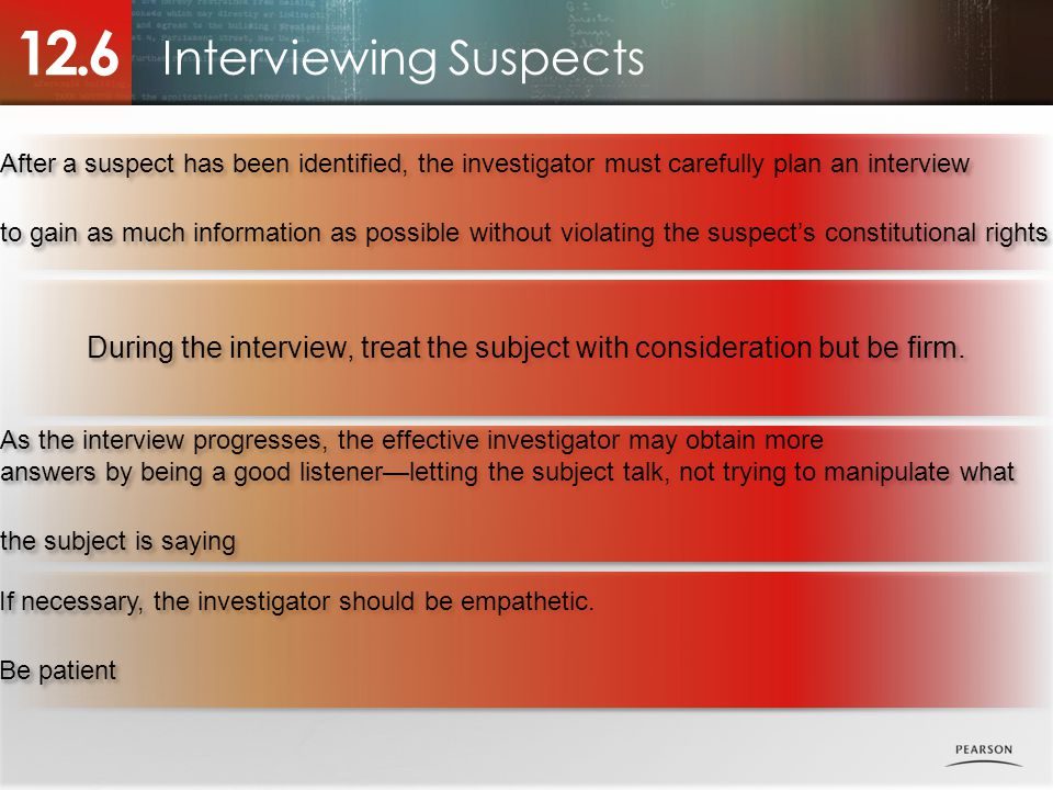Interviewing Suspects 12.6 After a suspect has been identified, the investigator must carefully plan an interview to gain as much information as possible without violating the suspect's constitutional rights After a suspect has been identified, the investigator must carefully plan an interview to gain as much information as possible without violating the suspect's constitutional rights During the interview, treat the subject with consideration but be firm.