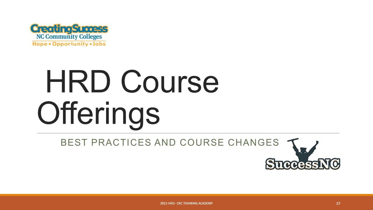 HRD Course Offerings BEST PRACTICES AND COURSE CHANGES 2013 HRD - CRC TRAINING ACADEMY 37