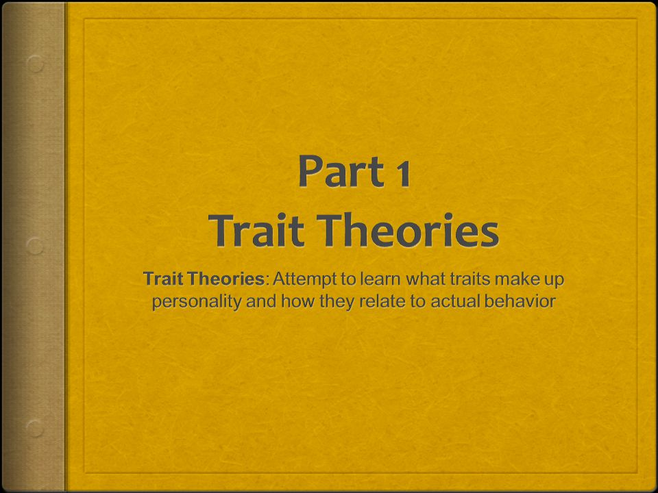 Trait Theories: Attempt to learn what traits make up personality and how they relate to actual behavior Psychodynamic Theories: Focus on the inner wor