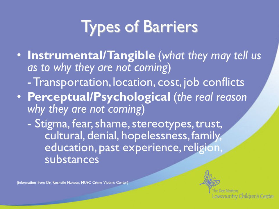Why focus on barriers.