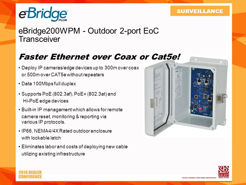 eBridge200WPM - Outdoor 2-port EoC Transceiver Faster Ethernet over Coax or Cat5e.
