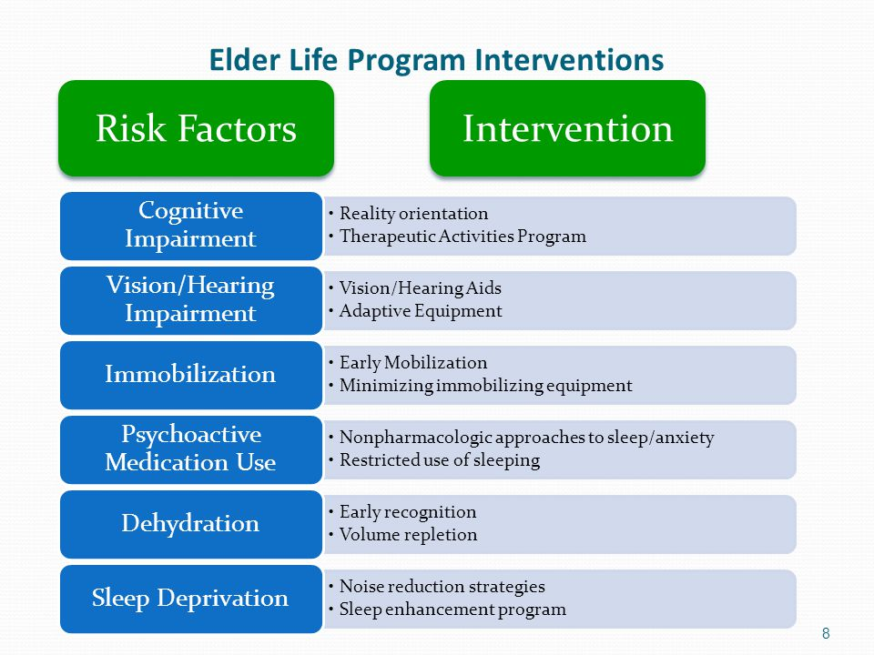 Elder Life Program Interventions 8 Reality orientation Therapeutic Activities Program Cognitive Impairment Vision/Hearing Aids Adaptive Equipment Visi