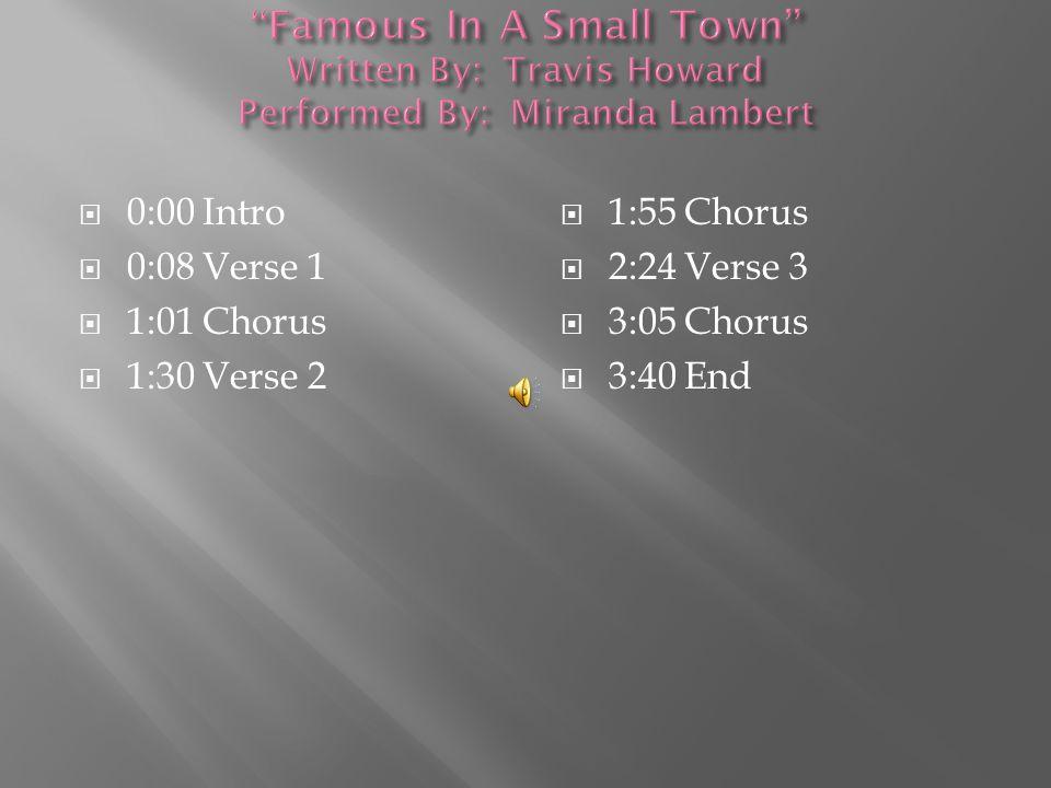  0:00 Intro  0:20 Verse 1  1:18 Chorus  1:46 Verse 2  2:10 Chorus  2:48 Verse 3  3:03 Chorus  3:38 End.
