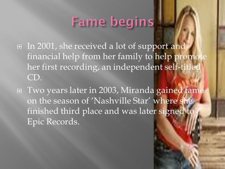  In 2001, she received a lot of support and financial help from her family to help promote her first recording, an independent self-titled CD.