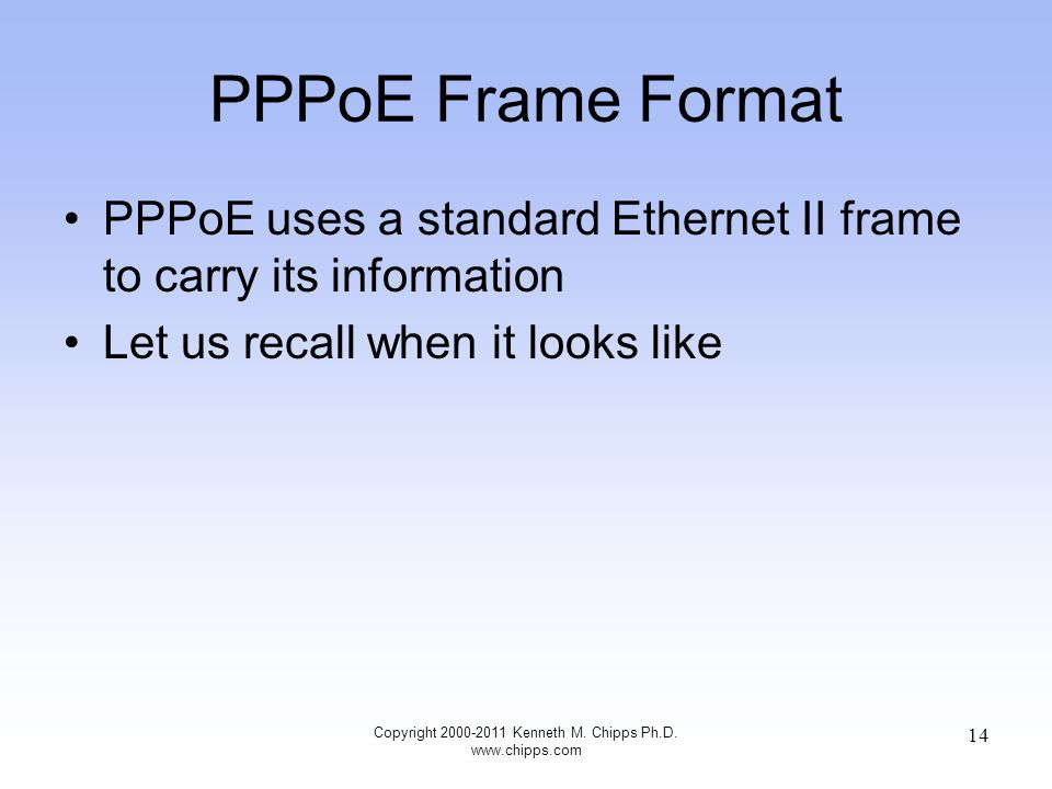 PPPoE Frame Format PPPoE uses a standard Ethernet II frame to carry its information Let us recall when it looks like Copyright 2000-2011 Kenneth M.
