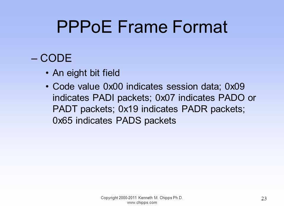 PPPoE Frame Format –CODE An eight bit field Code value 0x00 indicates session data; 0x09 indicates PADI packets; 0x07 indicates PADO or PADT packets; 0x19 indicates PADR packets; 0x65 indicates PADS packets Copyright 2000-2011 Kenneth M.