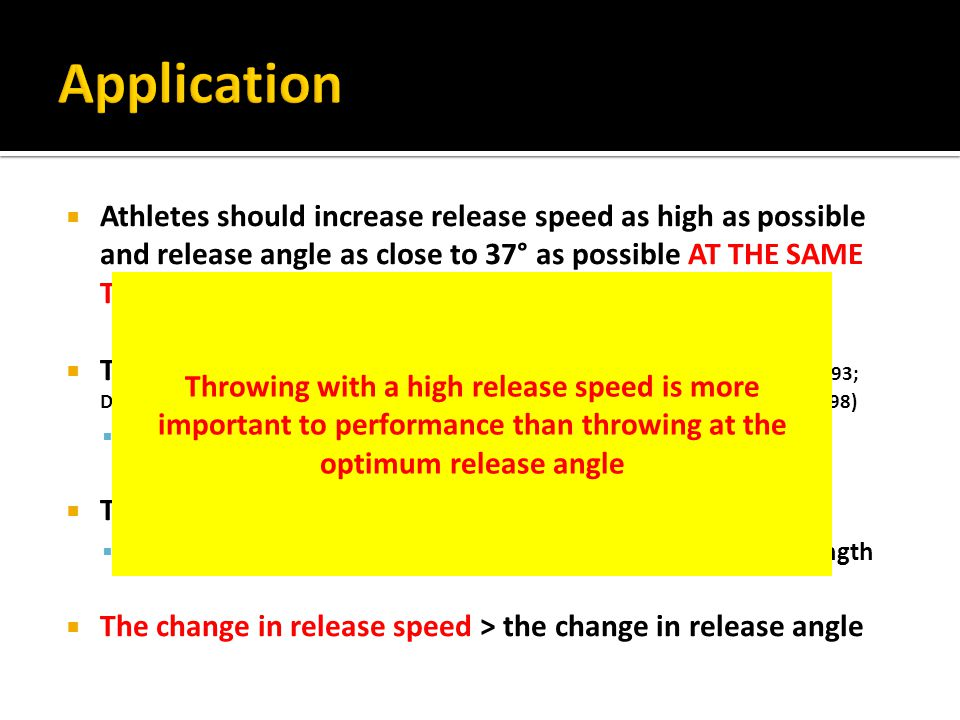  Athletes should increase release speed as high as possible and release angle as close to 37° as possible AT THE SAME TIME  The projection conditions are NOT INDEPENDENT (Hay, 1993; Dyson, 1986; Hubbard, 1988; de Mestre, 1990; de Mestre et al., 1998; Maheras, 1998)  Release speed decreases linearly with increasing release angle  The release angles could be their optimum angles  Due to the nature of their physical structure and muscular strength  The change in release speed > the change in release angle Throwing with a high release speed is more important to performance than throwing at the optimum release angle