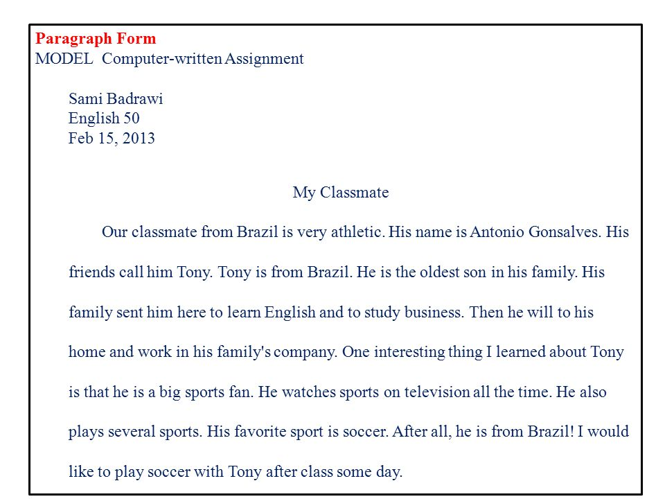 Example of descriptive essay about classmate