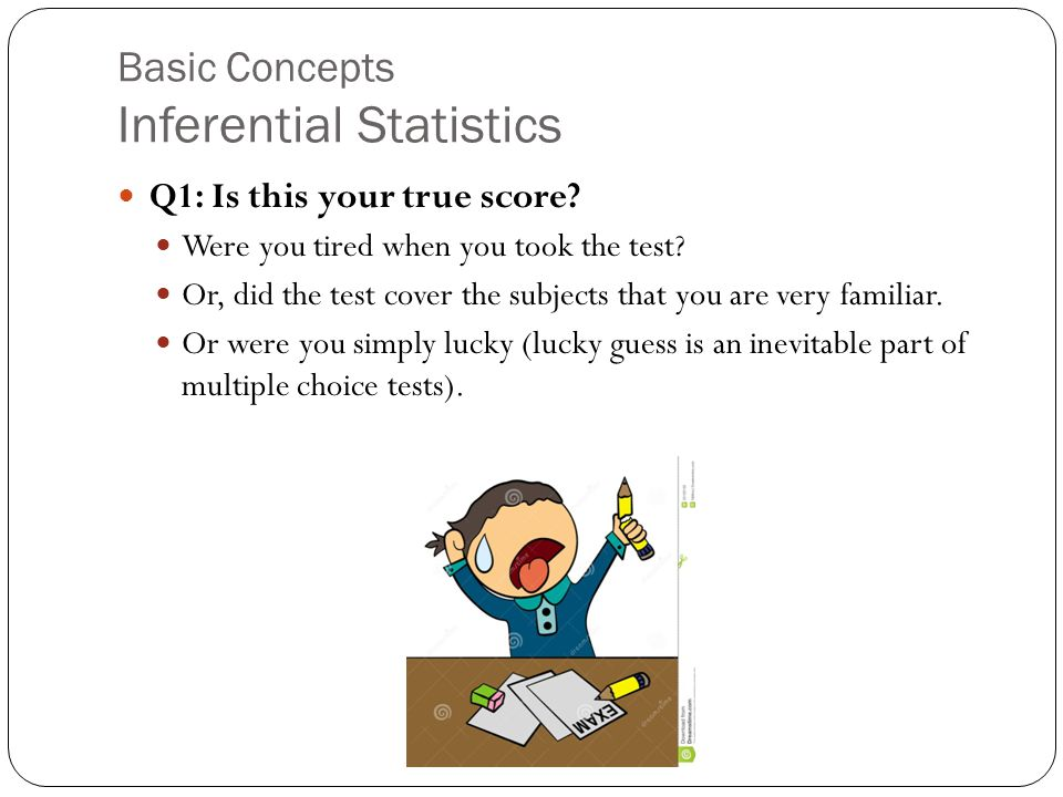 Basic Concepts Inferential Statistics Q1: Is this your true score.
