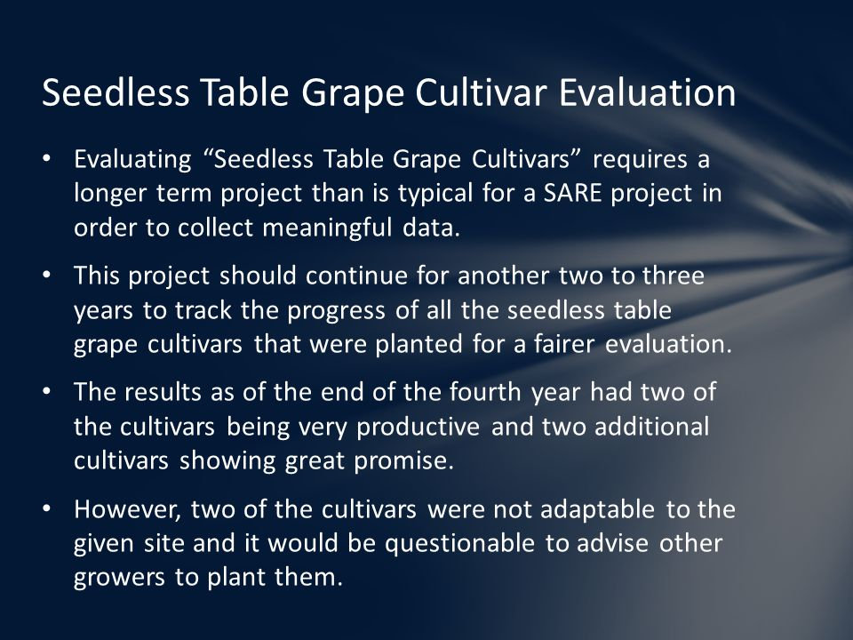 """Evaluating """"Seedless Table Grape Cultivars"""" requires a longer term project than is typical for a SARE project in order to collect meaningful data. Thi"""