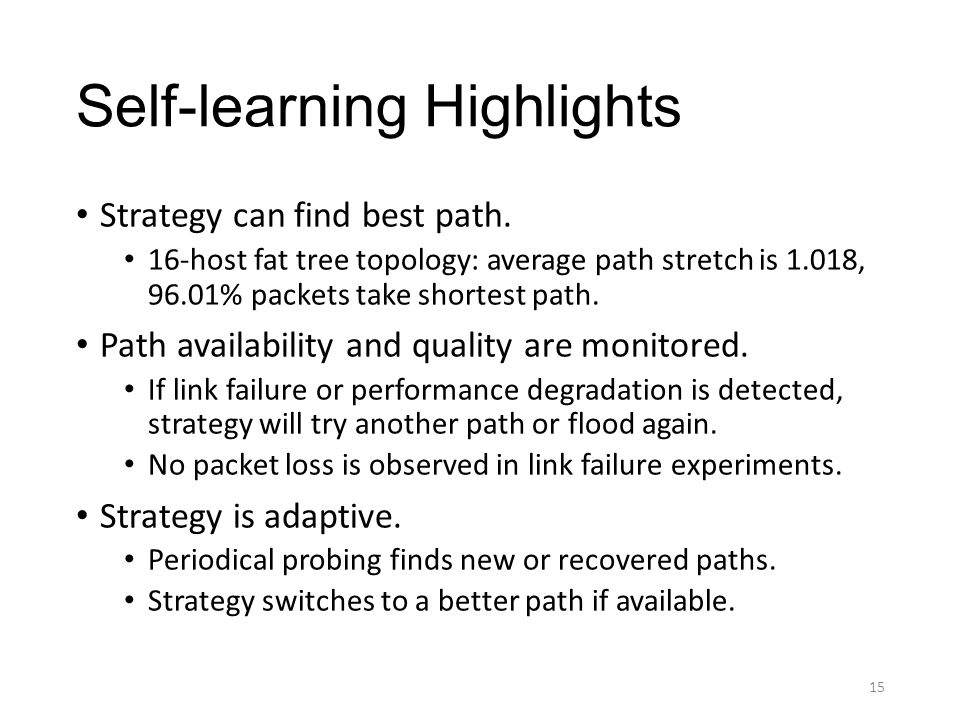 Self-learning Highlights Strategy can find best path.