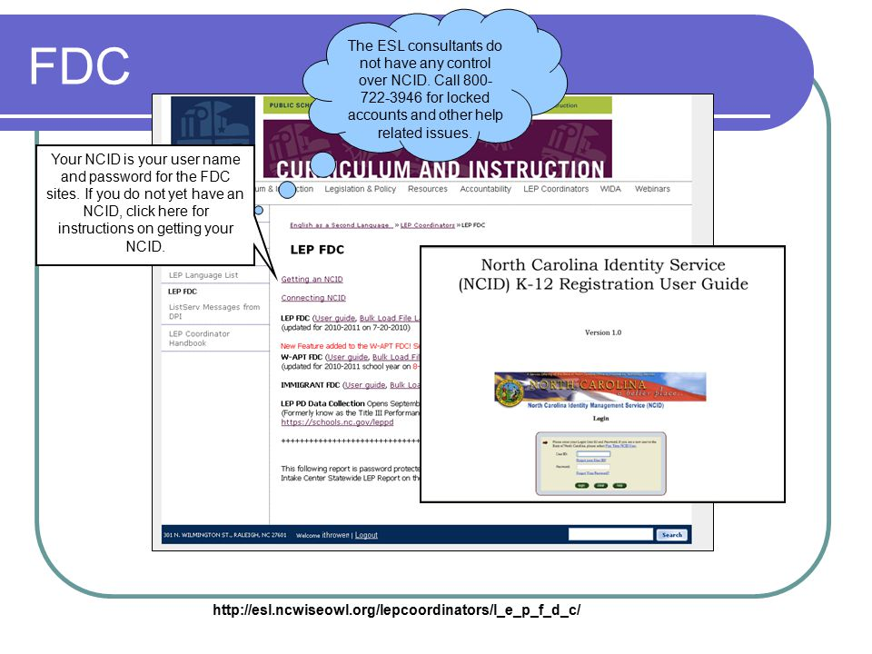 FDC Your NCID is your user name and password for the FDC sites.