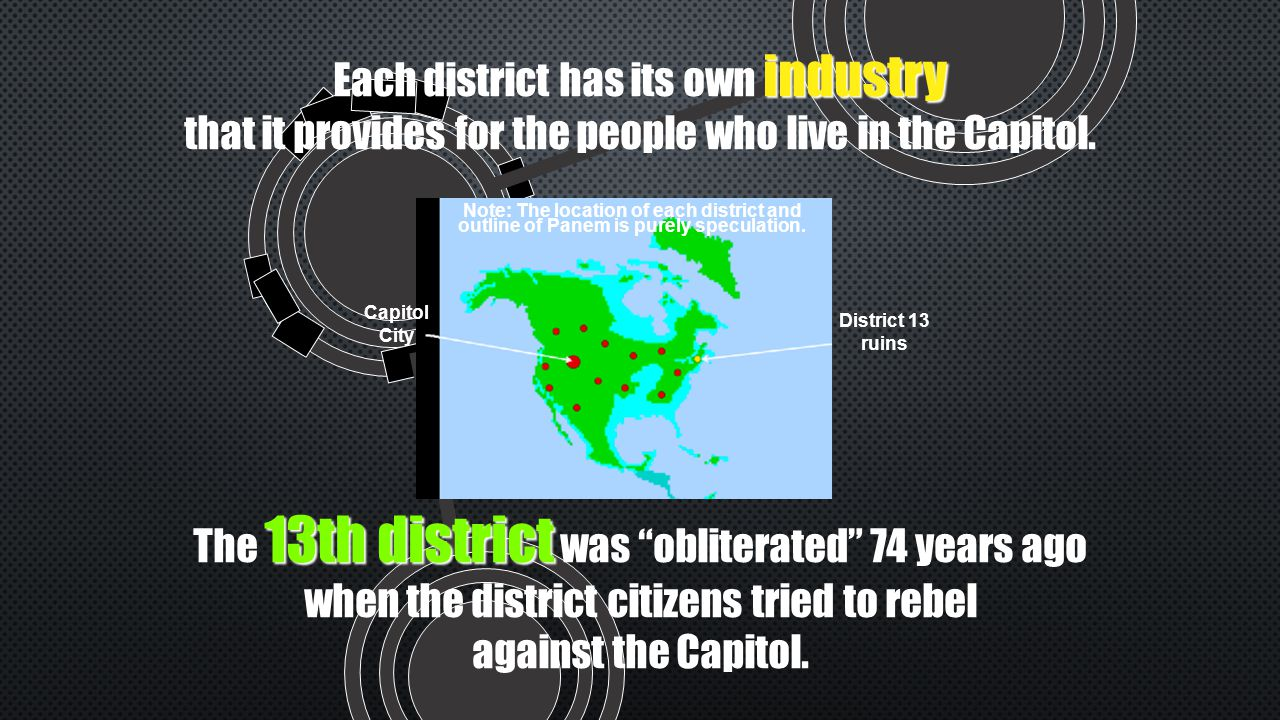 industry Each district has its own industry that it provides for the people who live in the Capitol.