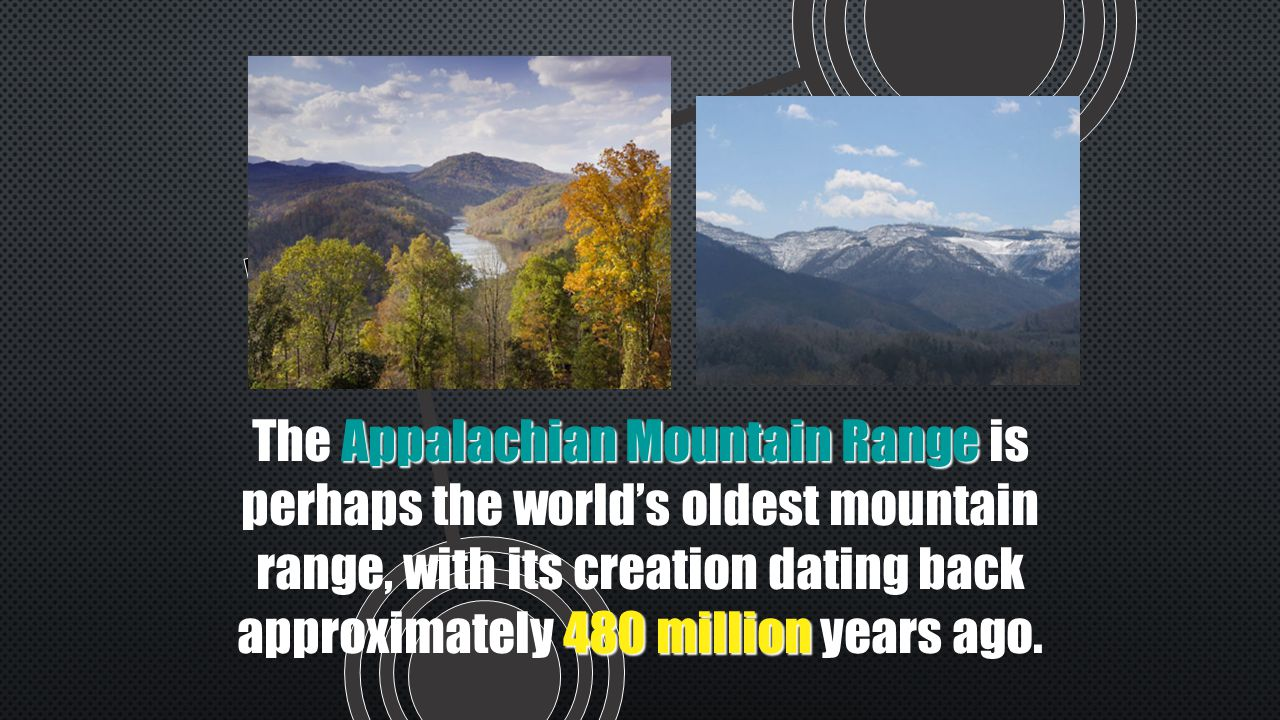 Appalachian Mountain Range 480 million The Appalachian Mountain Range is perhaps the world's oldest mountain range, with its creation dating back approximately 480 million years ago.