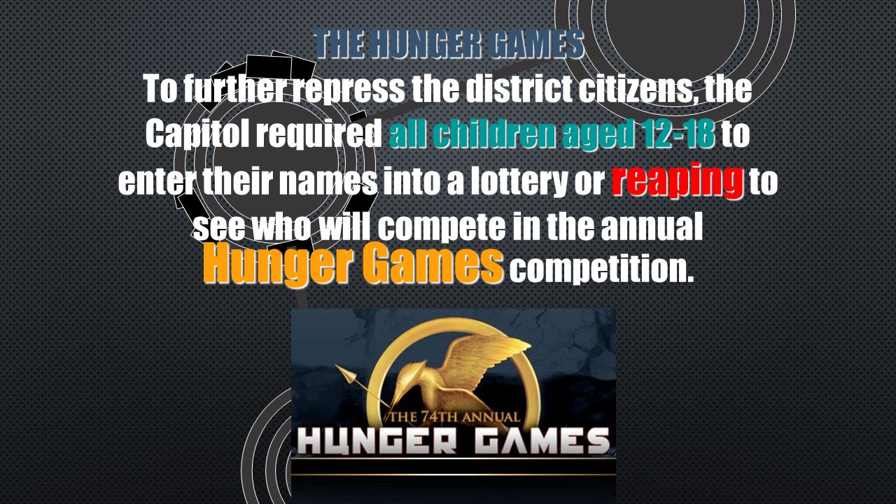 THE HUNGER GAMES all children aged 12-18 reaping Hunger Games To further repress the district citizens, the Capitol required all children aged 12-18 to enter their names into a lottery or reaping to see who will compete in the annual Hunger Games competition.