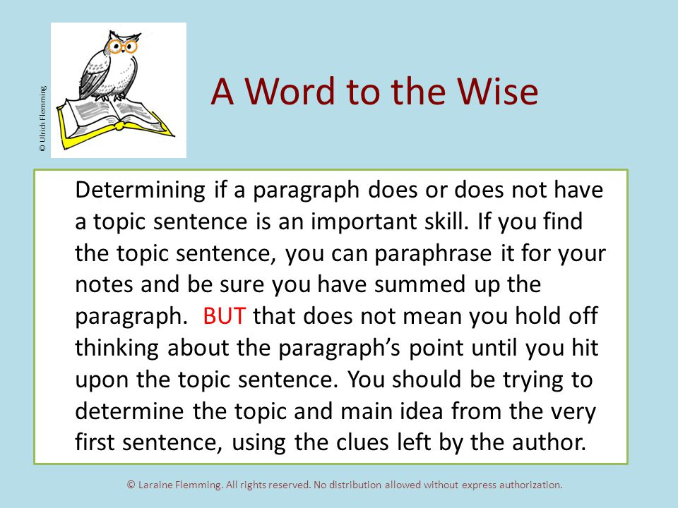 A Word to the Wise Determining if a paragraph does or does not have a topic sentence is an important skill.