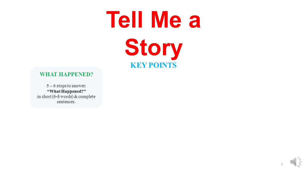 3 Tell Me a Story KEY POINTS