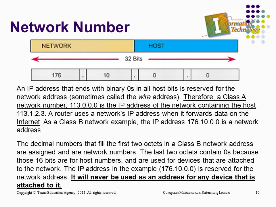 Network Number Computer Maintenance: Subnetting Lesson10 An IP address that ends with binary 0s in all host bits is reserved for the network address (