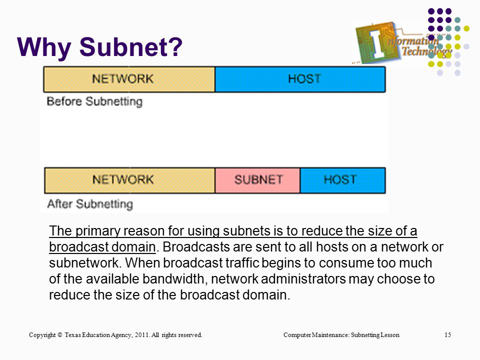 Why Subnet? Computer Maintenance: Subnetting Lesson15 The primary reason for using subnets is to reduce the size of a broadcast domain. Broadcasts are