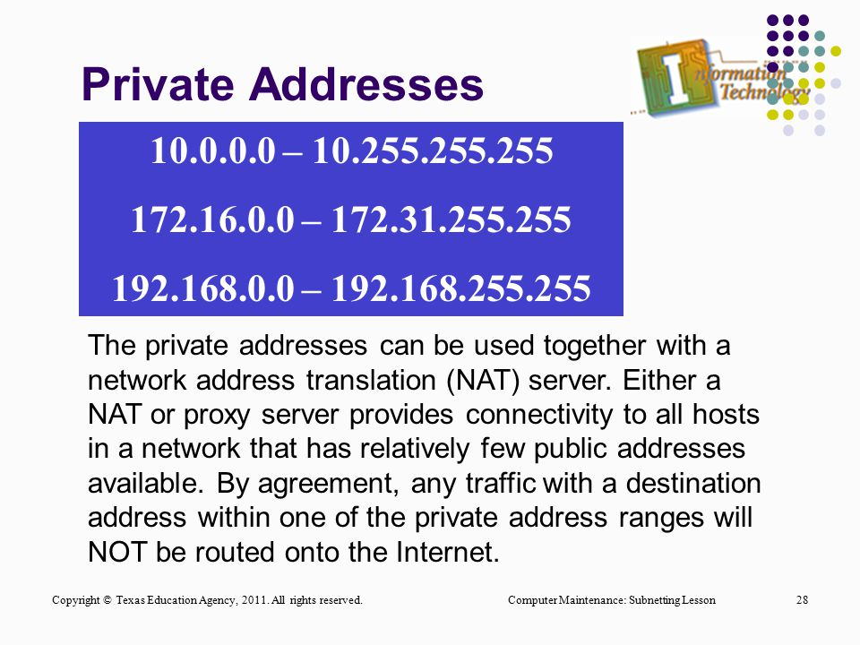 Private Addresses Computer Maintenance: Subnetting Lesson28 The private addresses can be used together with a network address translation (NAT) server