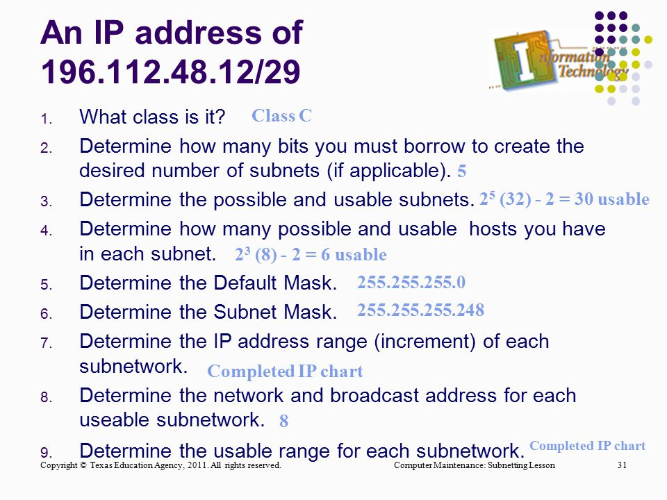 An IP address of 196.112.48.12/29 1. What class is it? 2. Determine how many bits you must borrow to create the desired number of subnets (if applicab