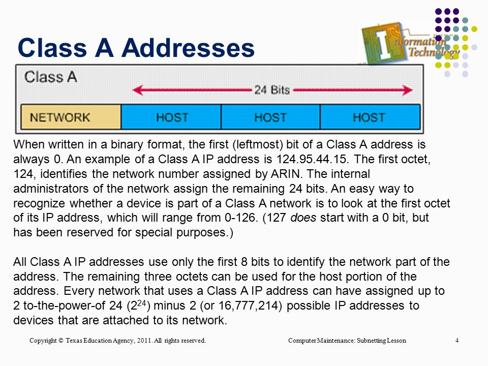 Class A Addresses Computer Maintenance: Subnetting Lesson4 When written in a binary format, the first (leftmost) bit of a Class A address is always 0.