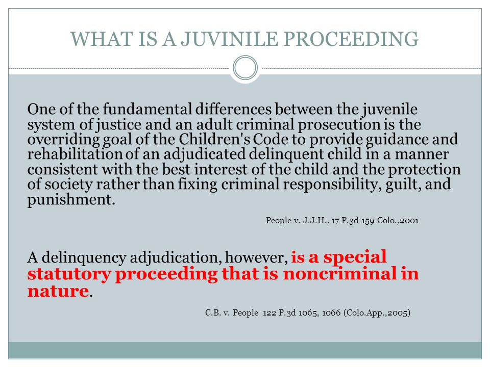 WHAT IS A JUVINILE PROCEEDING One of the fundamental differences between the juvenile system of justice and an adult criminal prosecution is the overriding goal of the Children s Code to provide guidance and rehabilitation of an adjudicated delinquent child in a manner consistent with the best interest of the child and the protection of society rather than fixing criminal responsibility, guilt, and punishment.