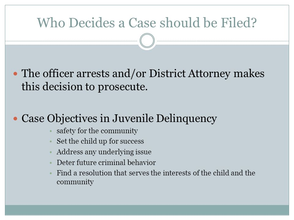 Who Decides a Case should be Filed.