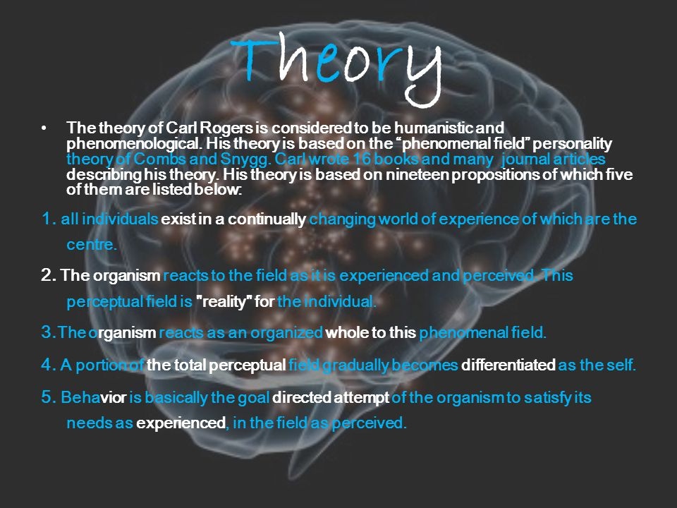 TheoryTheory The theory of Carl Rogers is considered to be humanistic and phenomenological.