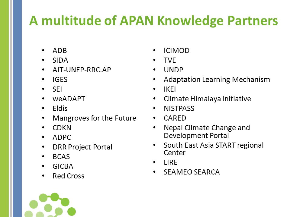 A multitude of APAN Knowledge Partners ADB SIDA AIT-UNEP-RRC.AP IGES SEI weADAPT Eldis Mangroves for the Future CDKN ADPC DRR Project Portal BCAS GICBA Red Cross ICIMOD TVE UNDP Adaptation Learning Mechanism IKEI Climate Himalaya Initiative NISTPASS CARED Nepal Climate Change and Development Portal South East Asia START regional Center LIRE SEAMEO SEARCA
