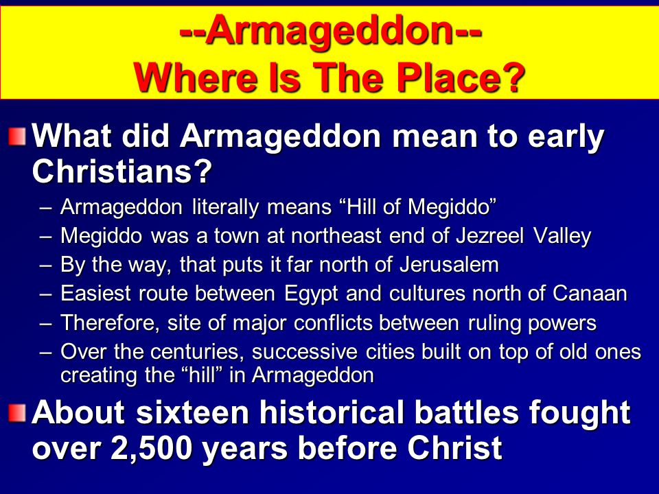 What did Armageddon mean to early Christians.