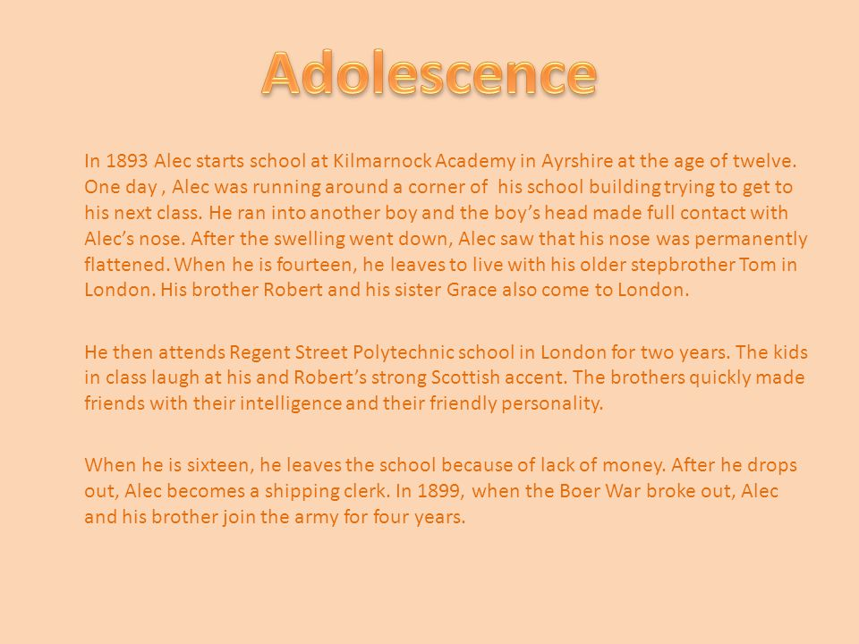 In 1893 Alec starts school at Kilmarnock Academy in Ayrshire at the age of twelve.