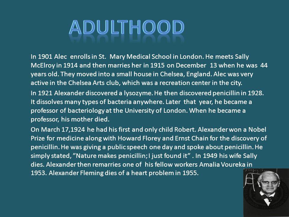 In 1901 Alec enrolls in St. Mary Medical School in London.