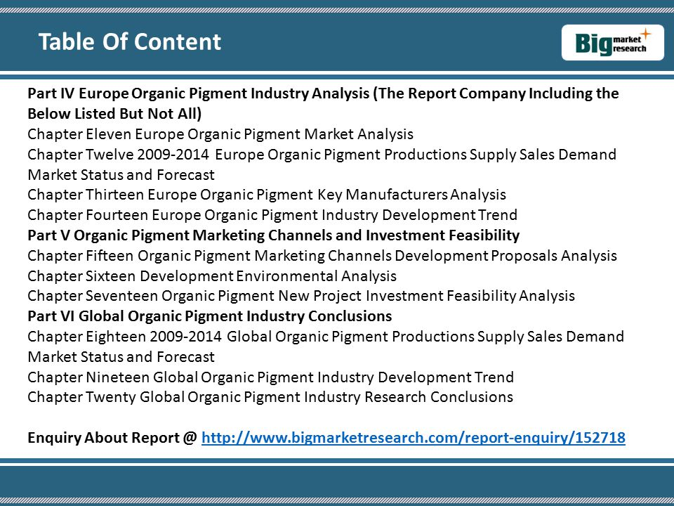 Part IV Europe Organic Pigment Industry Analysis (The Report Company Including the Below Listed But Not All) Chapter Eleven Europe Organic Pigment Market Analysis Chapter Twelve 2009-2014 Europe Organic Pigment Productions Supply Sales Demand Market Status and Forecast Chapter Thirteen Europe Organic Pigment Key Manufacturers Analysis Chapter Fourteen Europe Organic Pigment Industry Development Trend Part V Organic Pigment Marketing Channels and Investment Feasibility Chapter Fifteen Organic Pigment Marketing Channels Development Proposals Analysis Chapter Sixteen Development Environmental Analysis Chapter Seventeen Organic Pigment New Project Investment Feasibility Analysis Part VI Global Organic Pigment Industry Conclusions Chapter Eighteen 2009-2014 Global Organic Pigment Productions Supply Sales Demand Market Status and Forecast Chapter Nineteen Global Organic Pigment Industry Development Trend Chapter Twenty Global Organic Pigment Industry Research Conclusions Enquiry About Report @ http://www.bigmarketresearch.com/report-enquiry/152718http://www.bigmarketresearch.com/report-enquiry/152718 Table Of Content