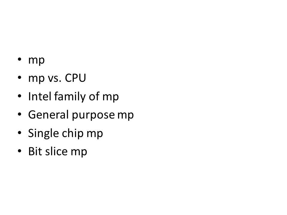 mp mp vs. CPU Intel family of mp General purpose mp Single chip mp Bit slice mp