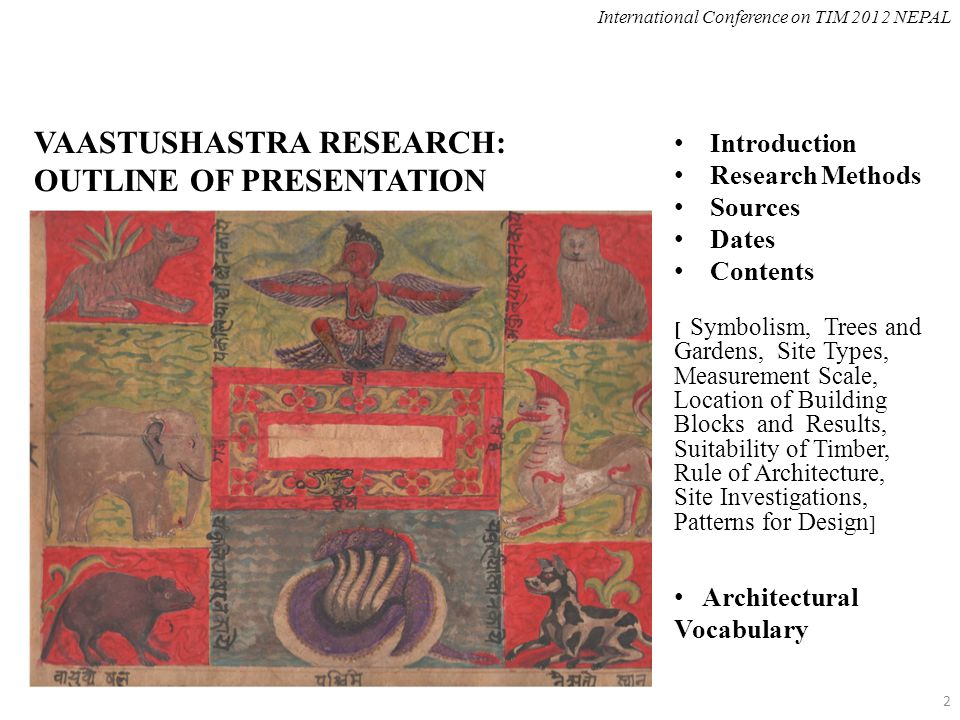 VAASTUSHASTRA RESEARCH: OUTLINE OF PRESENTATION Introduction Research Methods Sources Dates Contents [ Symbolism, Trees and Gardens, Site Types, Measu