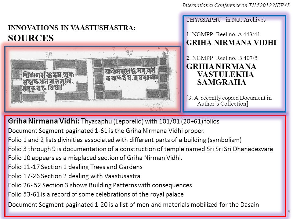 INNOVATIONS IN VAASTUSHASTRA: SOURCES Griha Nirmana Vidhi: T hyasaphu (Leporello) with 101/81 (20+61) folios Document Segment paginated 1-61 is the Griha Nirmana Vidhi proper.