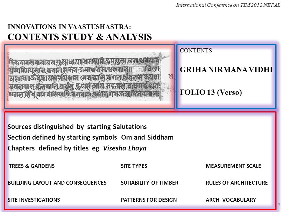 INNOVATIONS IN VAASTUSHASTRA: CONTENTS STUDY & ANALYSIS Sources distinguished by starting Salutations Section defined by starting symbols Om and Siddham Chapters defined by titles eg Visesha Lhaya TREES & GARDENS SITE TYPES MEASUREMENT SCALE BUILDING LAYOUT AND CONSEQUENCESSUITABILITY OF TIMBERRULES OF ARCHITECTURE SITE INVESTIGATIONSPATTERNS FOR DESIGNARCH VOCABULARY International Conference on TIM 2012 NEPAL 7 CONTENTS GRIHA NIRMANA VIDHI FOLIO 13 (Verso)
