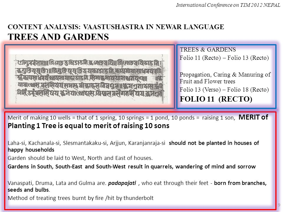 CONTENT ANALYSIS: VAASTUSHASTRA IN NEWAR LANGUAGE TREES AND GARDENS Merit of making 10 wells = that of 1 spring, 10 springs = 1 pond, 10 ponds = raising 1 son, MERIT of Planting 1 Tree is equal to merit of raising 10 sons Laha-si, Kachanala-si, Slesmantakaku-si, Arjjun, Karanjanraja-si should not be planted in houses of happy households Garden should be laid to West, North and East of houses.